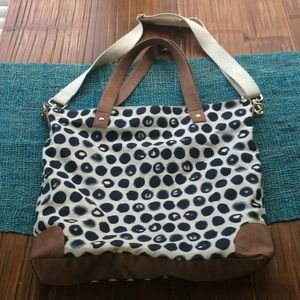 Merona cloth bag with detachable strap navy cream